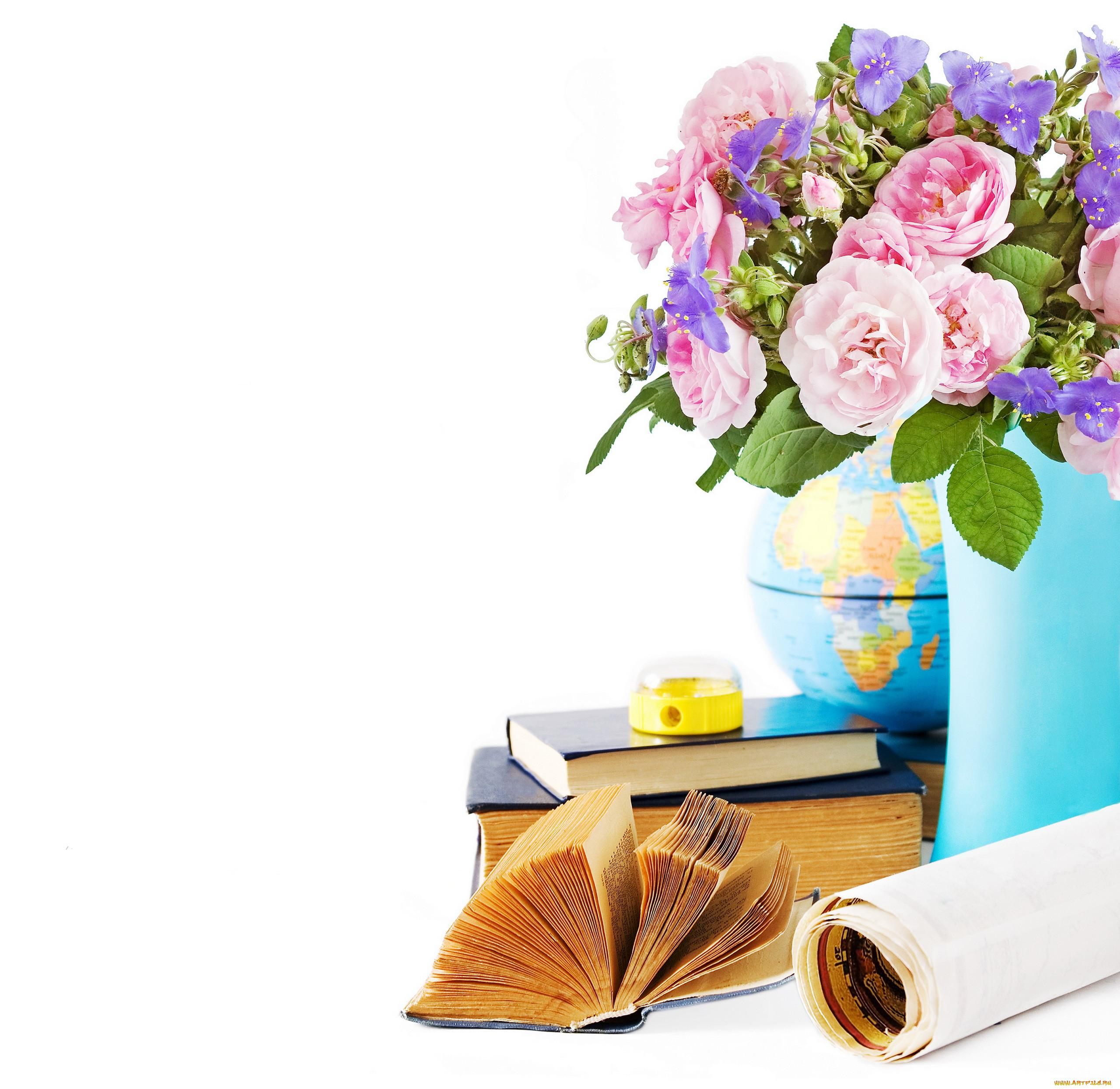 Поздравление цветы книги является